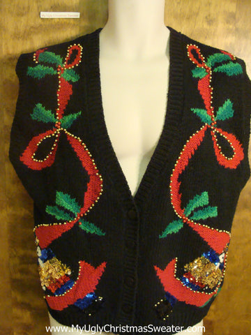 Christmas Ribbons Funny Christmas Sweater Vest