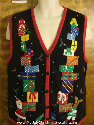 Rudolph and Santa Carrying Presents Funny Christmas Sweater Vest