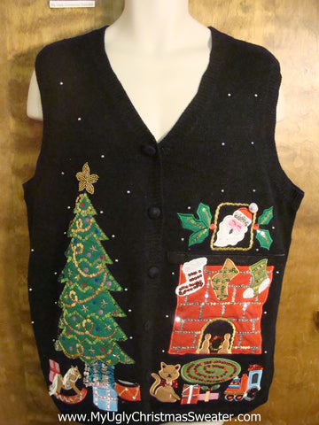 Cat Under the Tree Funny Christmas Sweater Vest
