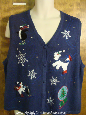 Skating Polar Bears and Penguin Funny Christmas Sweater Vest