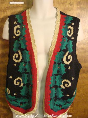 Holly and Swirls Funny Christmas Sweater Vest