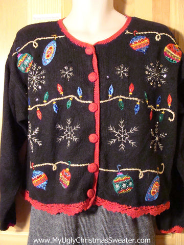 Tacky Ugly Christmas Sweater with Ornaments, Bulbs, and Snowflakes (f729)