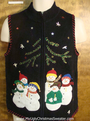 Snowmen Gathering Ugly Christmas Sweater Vest