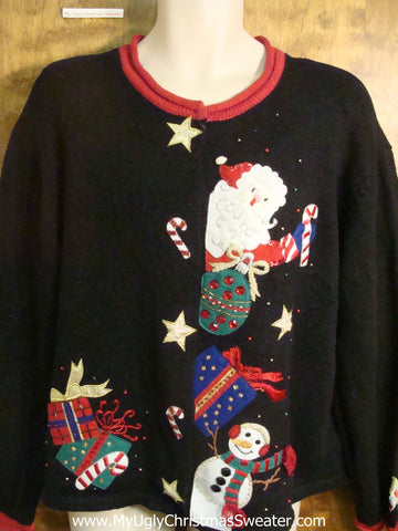 Jolly Santa and Snowman Ugly Christmas Sweater
