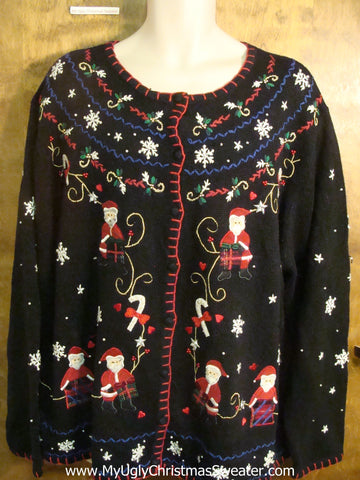 Santas and Festive Decorations Ugly Christmas Sweater