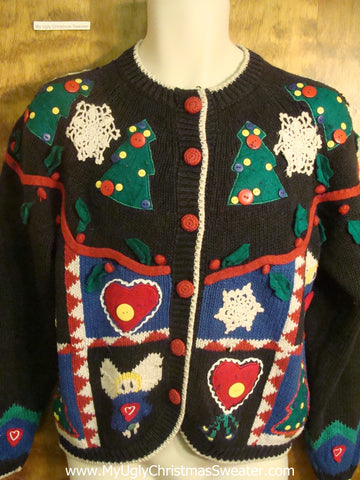 Button Decorations Ugly Christmas Sweater