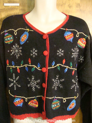 Colorful Ornaments and Lights Ugly Christmas Sweater