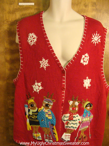 Retro Reindeer Party Ugly Christmas Sweater Vest
