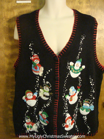 Snowmen Playing in Bling Snow Ugly Christmas Sweater Vest