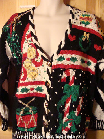 Tacky Ugly 80s Classic Christmas Sweater with Loud and Proud Decorations on Front and Back  (f731)