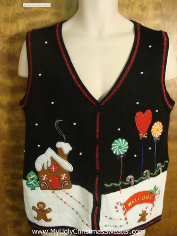 Gingerbread Village Ugly Christmas Sweater Vest