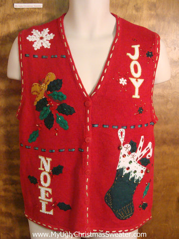 JOY and NOEL Ugly Christmas Sweater Vest