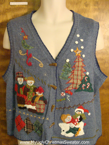 Playful Characters Ugly Christmas Sweater Vest