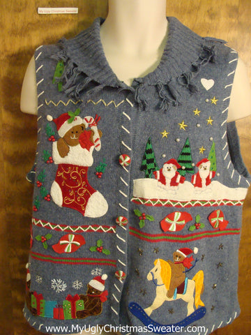 Playing Teddy Bears Ugly Christmas Sweater Vest