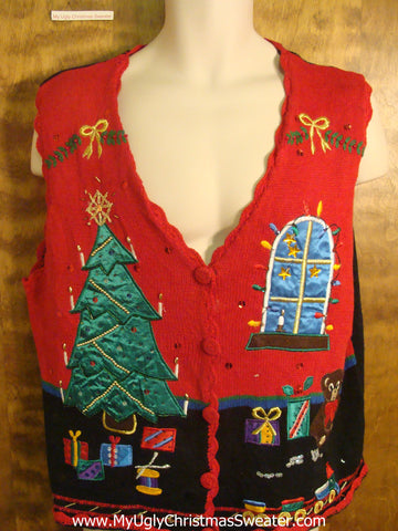 Decorated Tree and Presents Cheap Christmas Sweater Vest