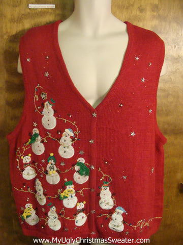Snowmen Hanging Bling Lights Ugly Christmas Sweater Vest