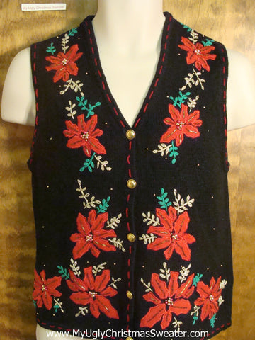 Big Red Poinsettias Ugly Christmas Sweater Vest