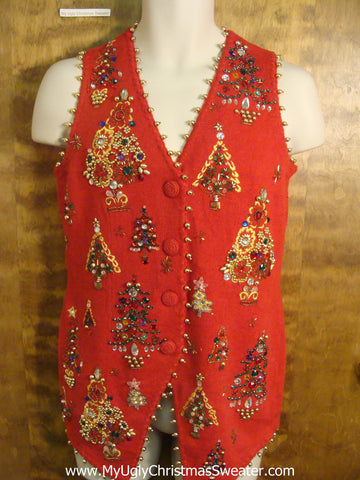 Bling Tree Decorations Ugly Christmas Sweater Vest