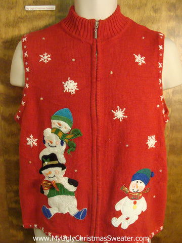 Sliding Snowmen Ugly Christmas Sweater Vest