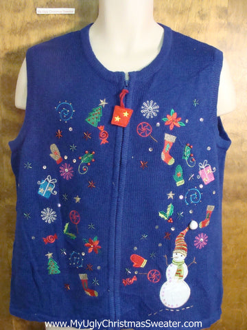 Holiday Wreath Fun Ugly Christmas Sweater Vest