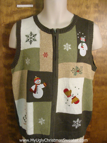 Green Patchwork Ugly Christmas Sweater Vest
