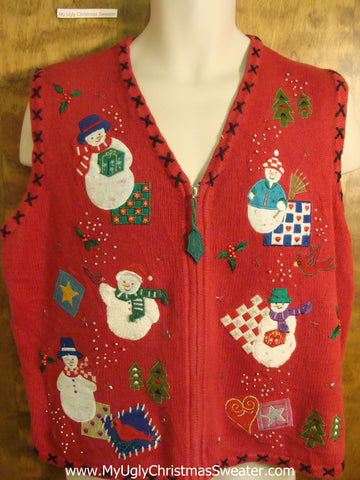 Snowmen with Quilts Ugly Christmas Sweater Vest