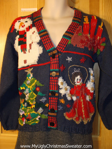 Tacky Classic 80s Ugly Christmas Sweater with Snowman, Angel, Candles, and Tree (f734)