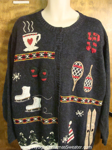 Outdoor Winter Activities Ugly Christmas Sweater