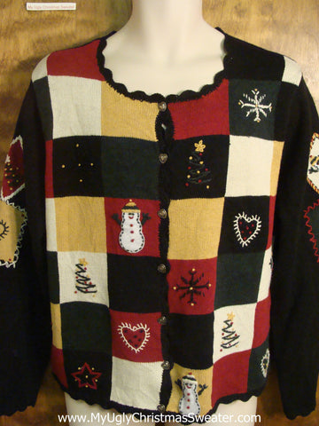 Checkerboard Ugly Christmas Sweater