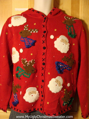 Tacky Ugly Christmas Hoodie Sweater with Santa and Reindeer Heads (f735)