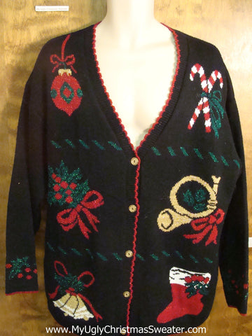Christmas Horn and Bells Ugly Christmas Sweater