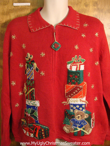 Presents Stacked High Ugly Christmas Sweater