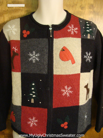Reindeer and Birds Ugly Christmas Sweater