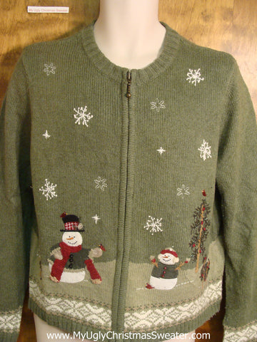Snowmen Playing With Bird Friends Ugly Christmas Sweater