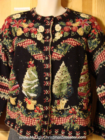 Tacky 80s Classic Ugly Christmas Sweater with Padded Shoulders and Patterns on Front, Back, and Sleeves (f736)