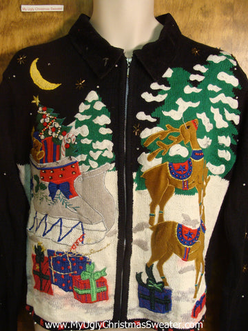 Santa's Reindeer Ugly Christmas Sweater
