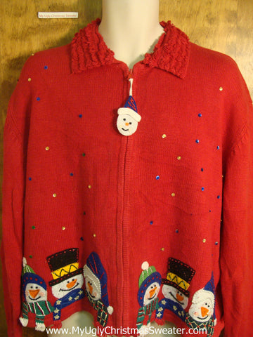 Holiday Snowmen with Bling Ugly Christmas Sweater