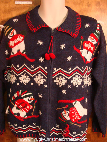 Happy Skiing Snowmen Ugly Christmas Sweater