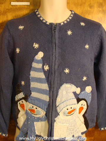 Holiday Snowmen and Penguins Ugly Christmas Sweater