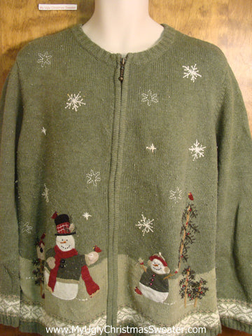 Snowmen with Red Robins Ugly Christmas Sweater