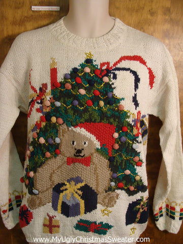 80s Teddy Bear and Tree Ugly Christmas Sweater