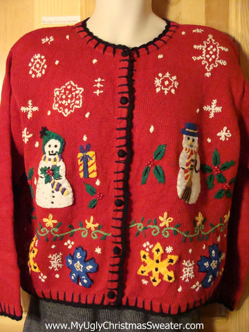 Tacky 80s Ugly Christmas Sweater with Padded Shoulders and Mr. & Mrs. Snowman and Colorful Snowflakes  (f737)