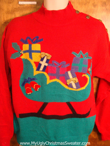 80s Christmas Sled Ugly Christmas Sweater
