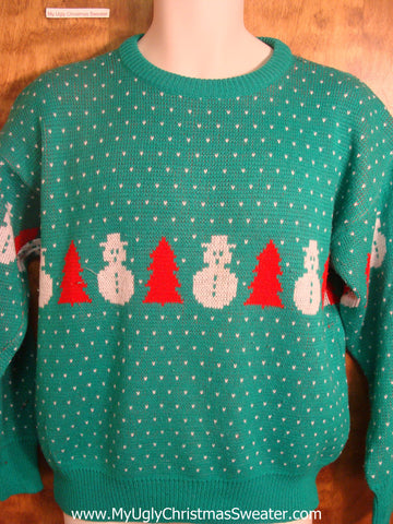 Snowman and Tree Patterned Ugly Christmas Sweater