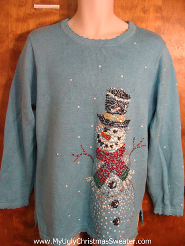 Jolly Bling Snowman Ugly Christmas Sweater