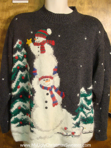 80s Snowmen Decorating the Tree Ugly Christmas Sweater