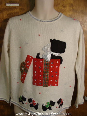 Scottie Dog Present Cheap Christmas Sweater