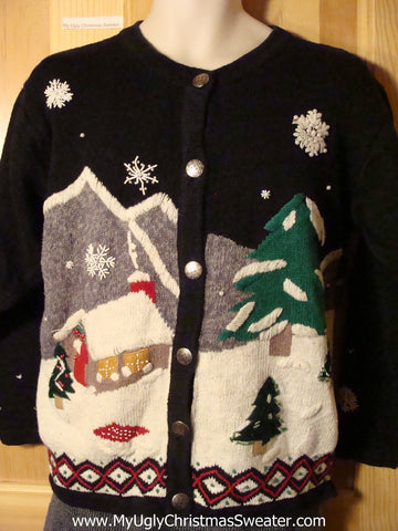 Tacky Ugly Christmas Sweater with Winter Wonderland on Front and Back (f738)