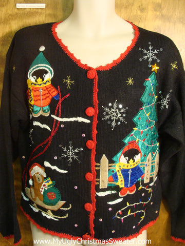 Penguins and Teddy Bears with Tree Ugly Christmas Sweater