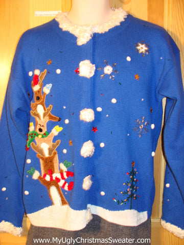 Tacky Ugly Christmas Sweater with Silly Reindeer, Fluffy Trims, and Bling Accents (f739)